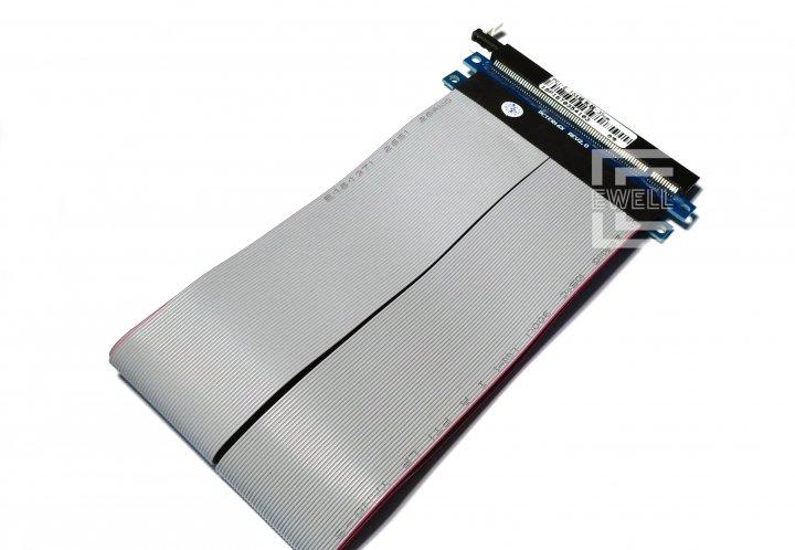 Райзер Ewell Riser Card PCI-E 16X ver. 2.0 з клямкою, шлейф 25 см (EW299) - зображення 1