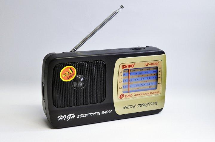 Аккумуляторный радиоприемник FM приемник Чёрный Kipo (KB-408AC) - изображение 1