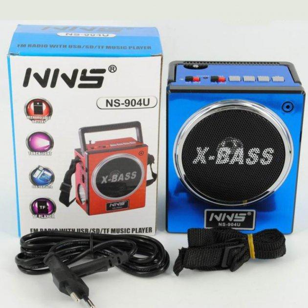 Аккумуляторный радиоприёмник колонка с USB SD фонариком, цифровым FM тюнером Синий NNS (NS-904U) - изображение 1