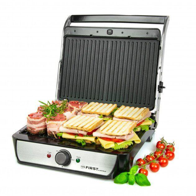 Притискної електричний гриль-тостер, барбекю для м'яса, овочів, паніні контактний закритий 2000 Вт Сріблясто-чорний First (FA-5344-2) - зображення 1