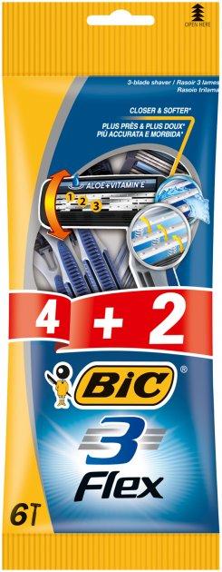 Набор бритв без сменных картриджей Bic Flex 3 4 + 2 шт (3086123242500) - изображение 1