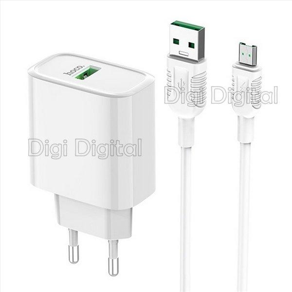 Сетевое зарядное устройство Hoco C69A 220В 1xUSB 5А c Кабелем microUSB QC3.0 Белый - изображение 1