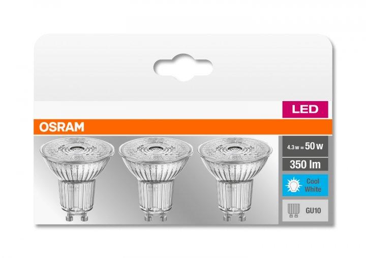Набор светодиодных ламп OSRAM BASE PAR16 50 36° 4.3W 4000К GU10 3 шт (4058075818415) - изображение 1