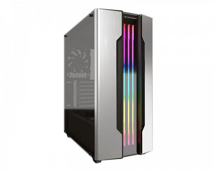 "Корпус Cougar Gemini S Silver, Mini ITX / Micro ATX / ATX, 2*3.5""+3*2.5"", подсветка Trelux RGB, Glas - изображение 1"