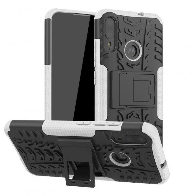 Чехол Armored для Motorola Moto E6 Plus (XT2025-2) противоударный бампер с подставкой белый - изображение 1