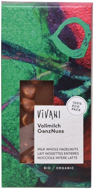 Шоколад Vivani молочный органический с целым лесным орехом 100 г (4044889000078) - изображение 1