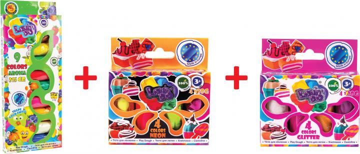 Набор теста для лепки Lovin'Do Ассорти 9 цветов Арома + Ассорти 4 цвета с глиттером 20 г + 4 цвета Неон 20 г (41081) - изображение 1