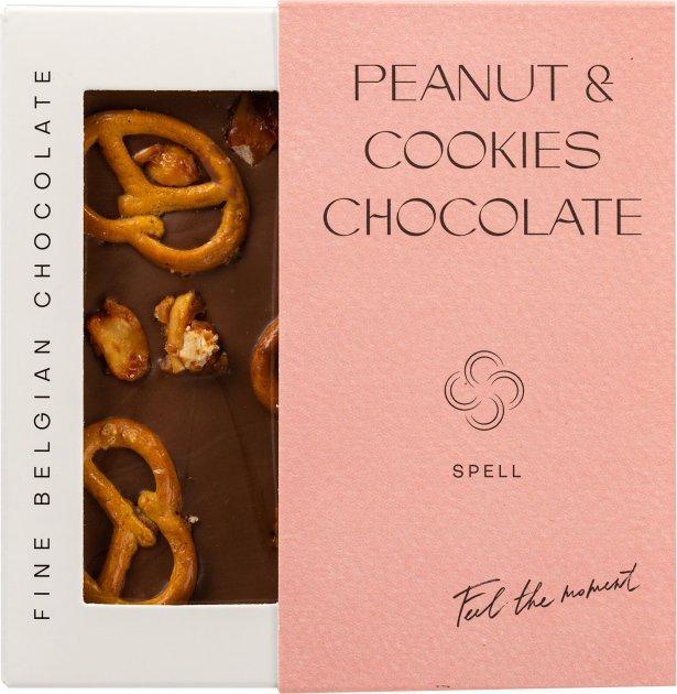 Шоколад Spell молочный с арахисовой пастой, клюквой и печеньем 110 г (4820207310940) - изображение 1