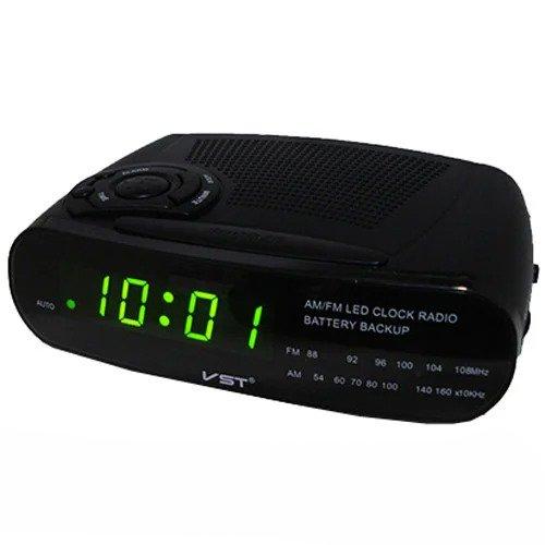 Настільний годинник з радіоприймачем VST 906 Чорні з зеленим підсвічуванням - зображення 1