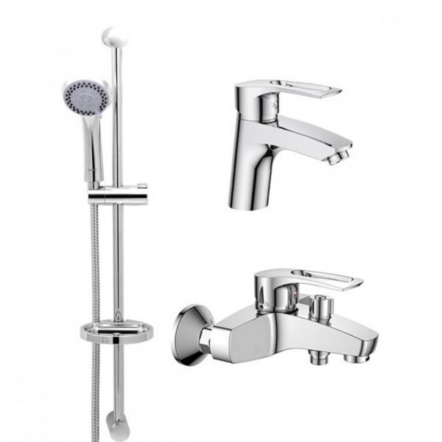 Набор смесителей для ванной Haiba Hansberg.SET - 1. (001, 009, стойка) - изображение 1