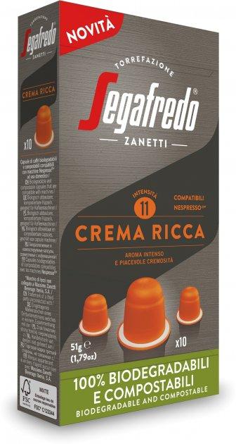 Кофе в биоразлагаемых капсулах Segafredo Crema Ricca Nespresso 10 шт x 5.1 г (8003410247906) - изображение 1
