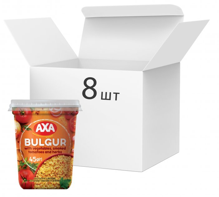 Упаковка каші булгур AXA з овочами, копченими томатами та зеленню 45 г х 8 шт. (4820008129901) - зображення 1
