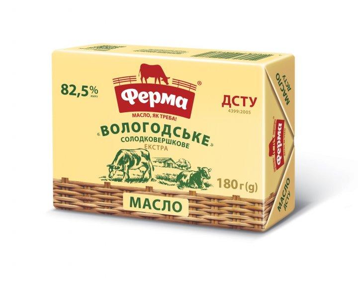 Масло солодковершкове Вологодське 82,5% Ферма брикет 180г - изображение 1