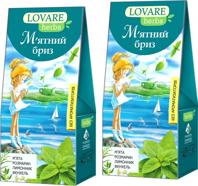 Упаковка чая Lovare Смесь травяного и плодово-ягодного со специями Мятный бриз 2 пачки по 20 пирамидок (2000006781116) - изображение 1