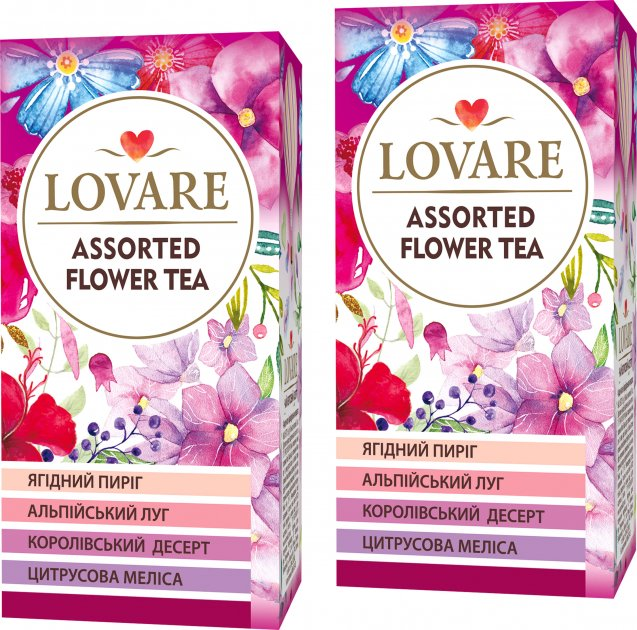 Упаковка чая Lovare цветочного Ассорти 2 пачки 4 вида по 6 пакетиков (2000006781277) - изображение 1