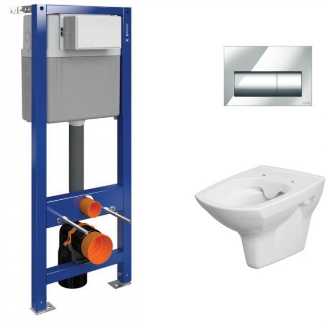 Инсталляция CERSANIT Aqua 02 Mech Set B207 + унитаз Carina CleanON с сиденьем Soft Close дюропласт + панель смыва Presto хром - изображение 1