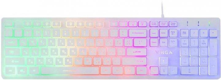 Клавіатура дротова Vinga KB410 USB White - зображення 1