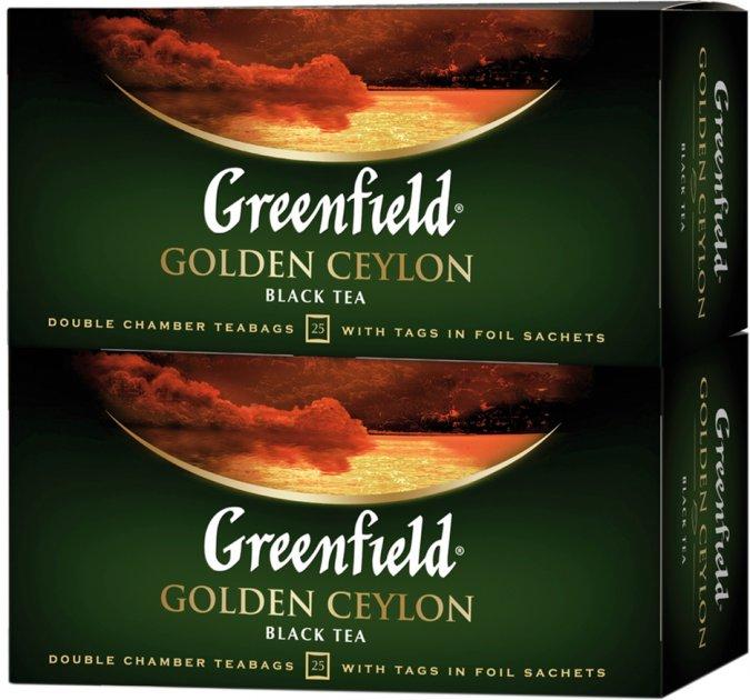 Упаковка чая пакетированного Greenfield Golden Ceylon 25 пакетиков х 2 шт (4823096807577)