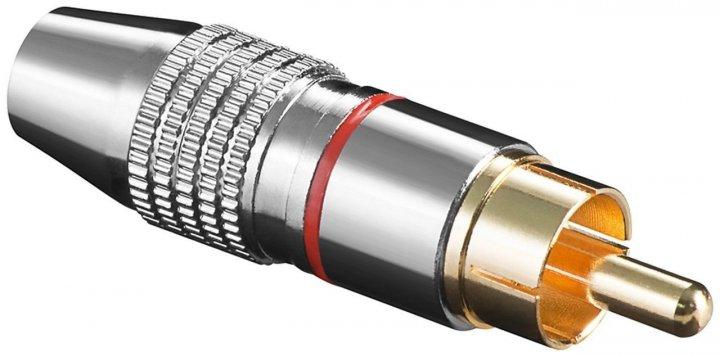 Штекер Lucom FreeEnd-RCA /M Metal Gold D=6.5mm Red червоний(25.02.5174) - зображення 1