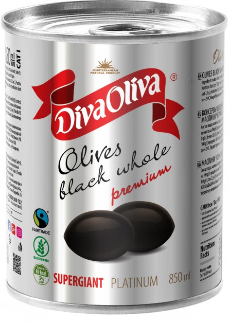 Маслины чёрные Diva Oliva Platinum Супергигант c косточкой 850 мл (5060235659577) - изображение 1