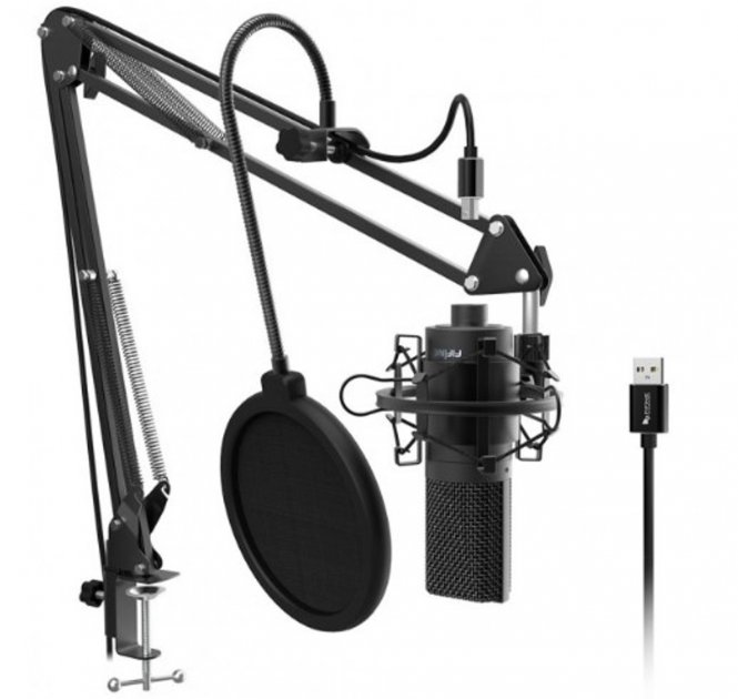 Мікрофон FIFINE K669 з пантографом, павуком та поп фільтром 10 см - зображення 1