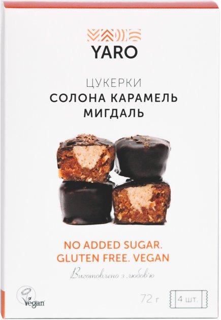 Конфеты Yaro Соленая карамель Миндаль 18 г х 4 шт (4820230431124) - изображение 1