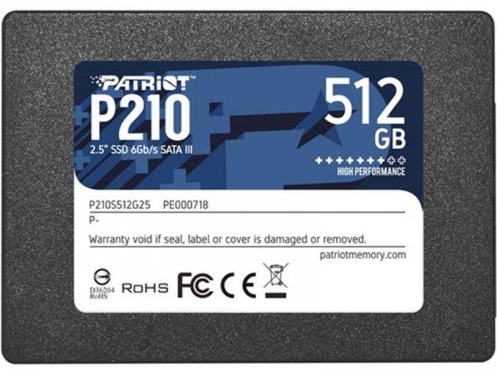 """Накопичувач SSD 512GB Patriot P210 2.5"""" SATAIII TLC (P210S512G25) - зображення 1"""