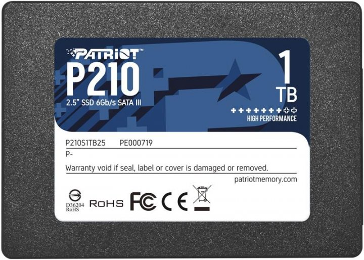 """Накопитель SSD 1TB Patriot P210 2.5"""" SATAIII TLC (P210S1TB25) - изображение 1"""