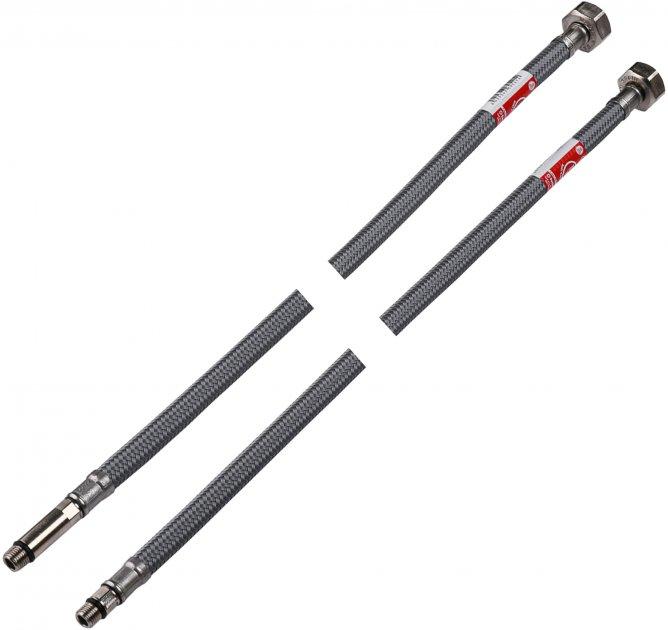 Шланг для змішувача TUCAI H3/8xM10-L17+L37 0.8 м (ПАРА TAQ GRIF ACB 207416) антикорозія - зображення 1
