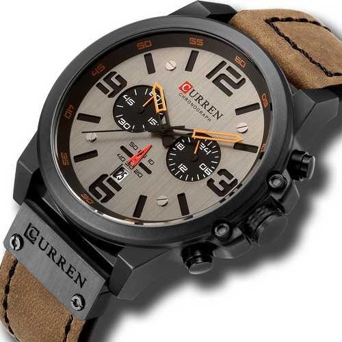 Наручний годинник AlexMosh чоловічі Curren Khaki-Black (1017) - зображення 1