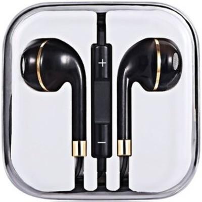 Наушники Headphones проводные с микрофоном чёрные с золотистым ободком - изображение 1