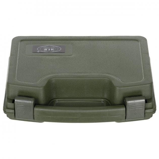 Кейс для пістолета пластиковий із застібками малий темно-зелений (олива) MFH (27169B) - зображення 1