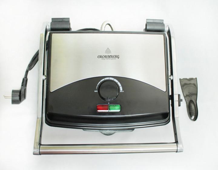 Електрогриль контактний притискної з антипригарним покриттям Crownberg CB-1067 1500W Black/Silver - зображення 1