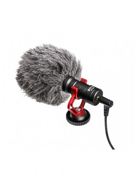 Мікрофон BOYA BY-MM1 накамерне односпрямований для смартфонів, планшетів, відеокамер з вітрозахистом і власником - зображення 1