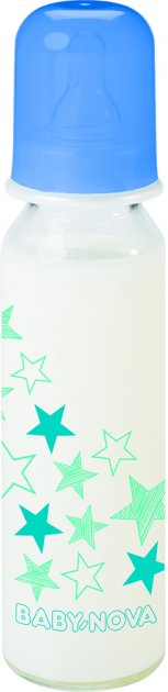Бутылочка стеклянная Baby-Nova Декор 250 мл Синяя (4001071430020) - изображение 1