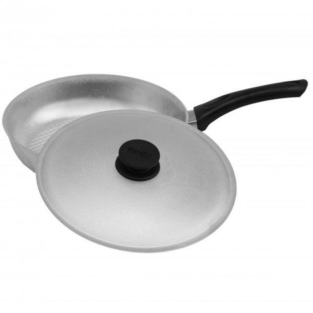Сковорода алюминиевая (200 мм) с рифленым дном и крышкой Биол А201 - изображение 1