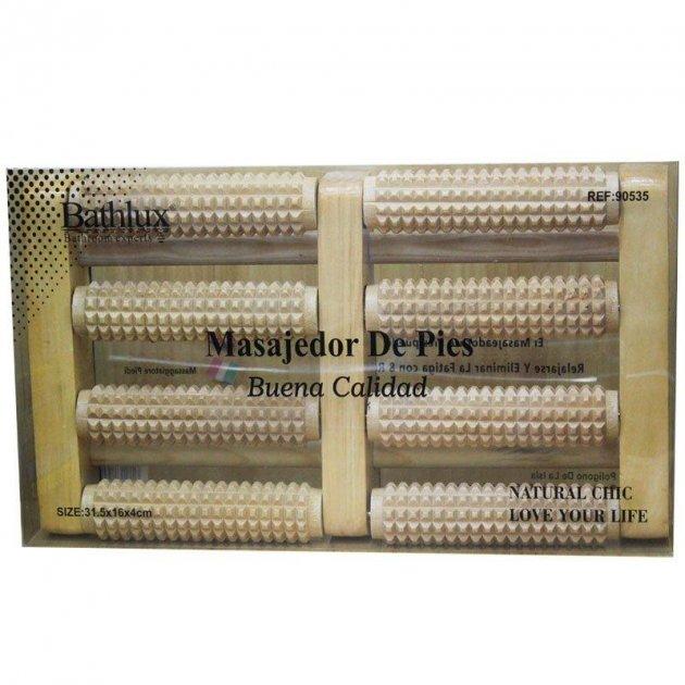 Масажні ролики Bathlux 90535 банні, дерев'яний масажер каталка, роликовий дерев'яний масажер 16х31,5 см (F_132216) - зображення 1