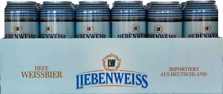 Упаковка пива Liebenweiss Hefe-Weissbier светлое не фильтрованное 5.1% 0.5 л х 24 шт (4071600054119) - изображение 1