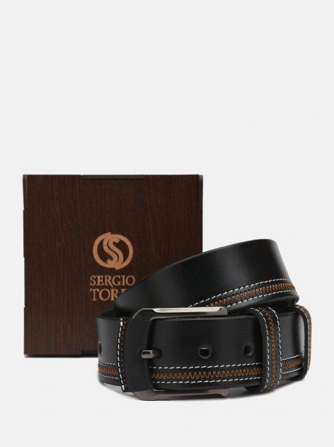 Мужской ремень кожаный Sergio Torri 14-0007/45 130 см Черный (2000000019864) - изображение 1