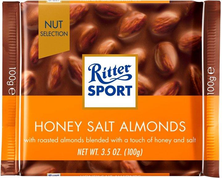 Шоколад Ritter Sport Nut Selection молочный с цельным миндалем солью и медом 100 г (4000417704009) - изображение 1
