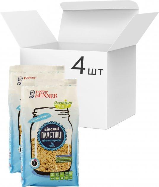 Упаковка хлопьев Doctor Benner Овсяных цельнозерновых 400 г х 4 шт (20132580470) - изображение 1