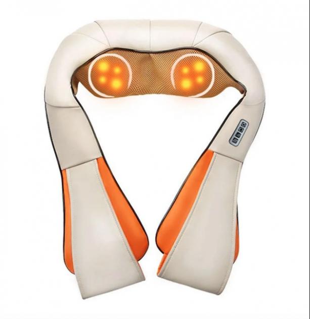 Роликовый электрический массажер для тела, спины и шеи V-Massager с адаптером для авто Бежевый - изображение 1