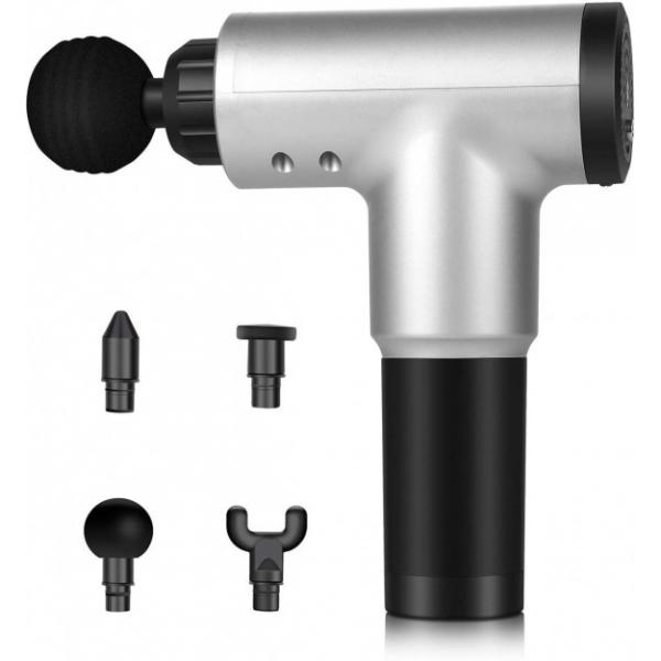 Ручной электрический массажер для тела, спины и шеи Fascial Gun Pro с аккумулятором и комплектом насадок Серый - изображение 1