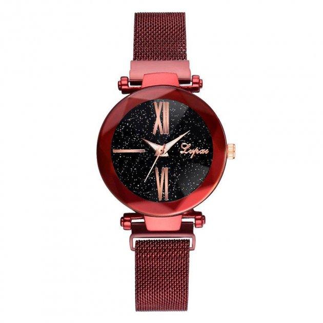Часы наручные Starry Sky женские с сетчатым браслетом и магнитной застежкой, красные (SKU_189658) - изображение 1