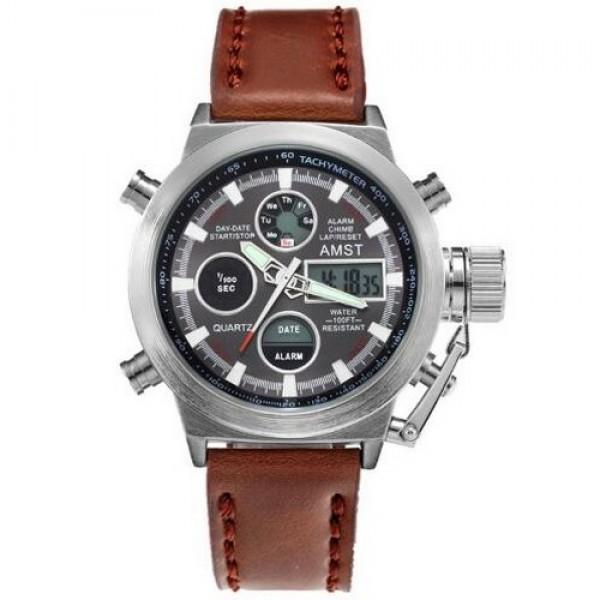 Наручные часы AMST C Silver-Black Brown Wristband - изображение 1