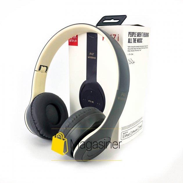 Беспроводные Bluetooth наушники UKC P47 белые с серым (1242) - изображение 1