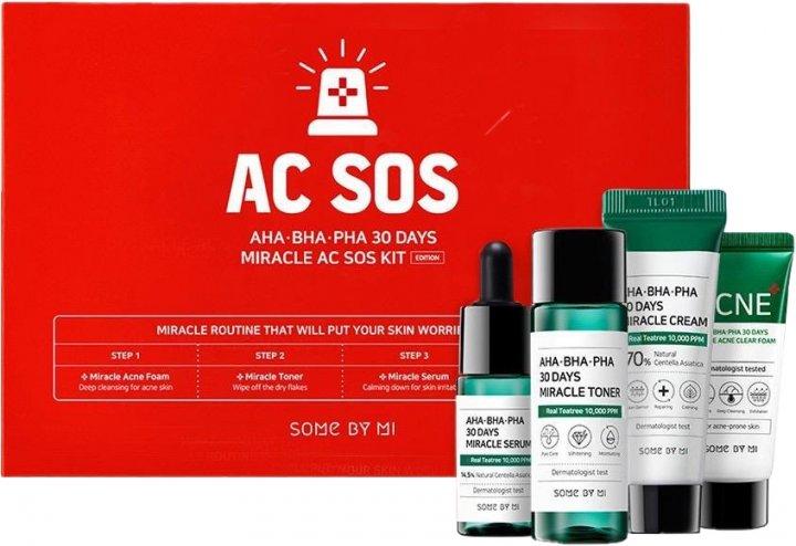 Набор миниатюр кислотных средств для проблемной кожи Some By Mi AHA-BHA-PHA 30 Days Miracle AC SOS Kit (8809647390527) - изображение 1