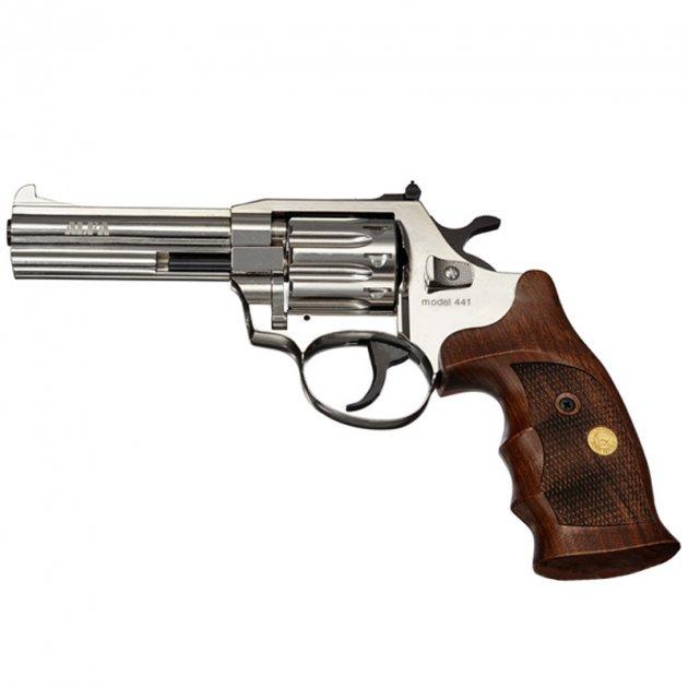 """Револьвер под патрон Флобера Alfa 441 (4.0"""", 4.0мм), никель-дерево - изображение 1"""