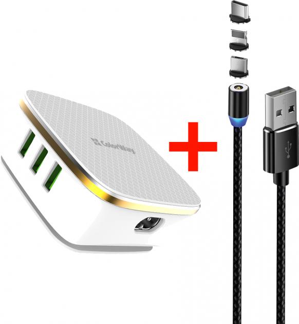Сетевое зарядное устройство ColorWay 6USB (1QC3.0 + 5 AUTO ID) 7A (35W) White + Кабель ColorWay USB 3в1 Magnetic 2.4А 1 м Black (CW-CHS019Q-WT-CBU) - изображение 1