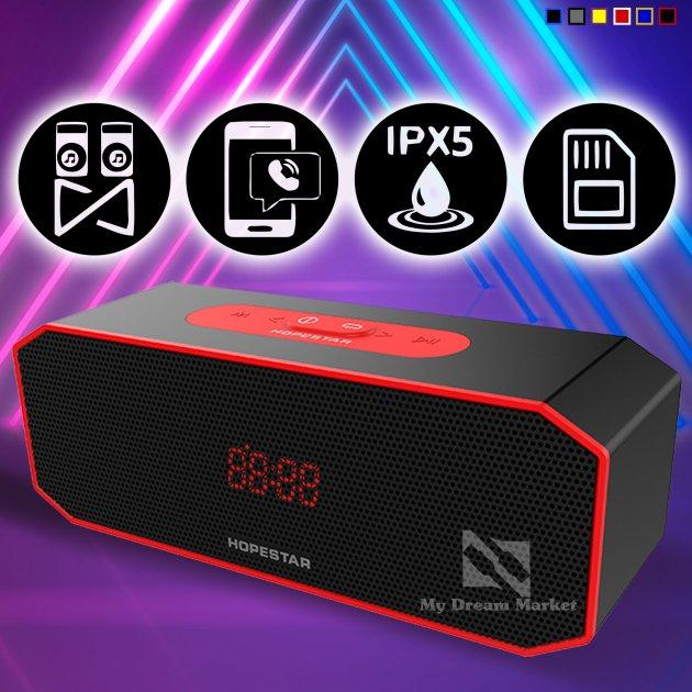 Переносная Колонка Hopestar P8 USB влагозащищенная Bluetooth и функцией громкой связи - Портативная акустическая система с хорошим звучанием и басом - Акустика с функцией PowerBank + AUX, Black-red - изображение 1